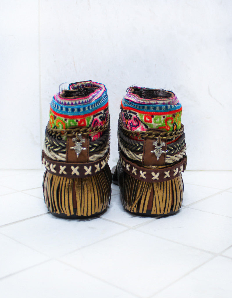 Custom Made Boho Sandals in Brown | SIZE 37 - SWANK - Shoes - 4