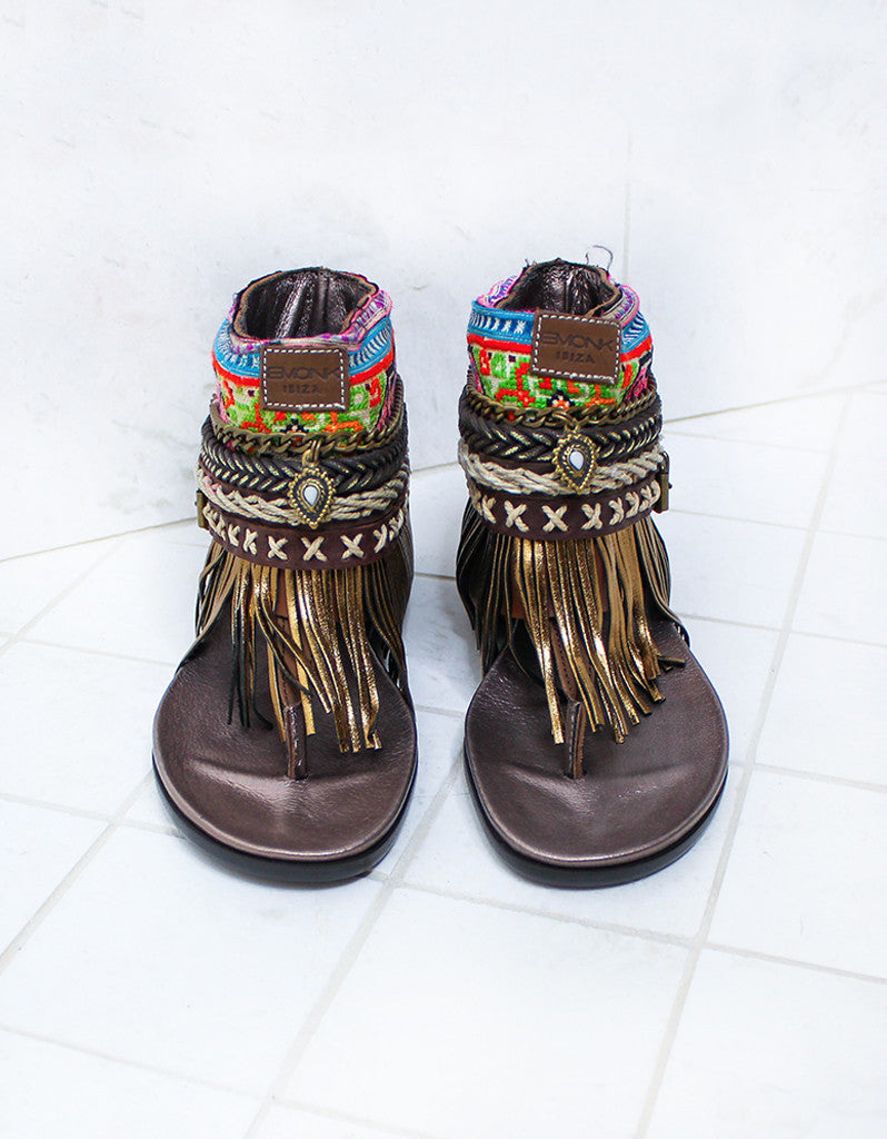 Custom Made Boho Sandals in Brown | SIZE 37 - SWANK - Shoes - 5