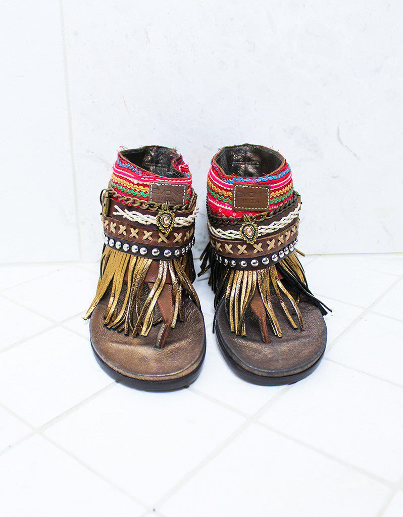 Custom Made Boho Sandals in Brown | SIZE 38 - SWANK - Shoes - 3