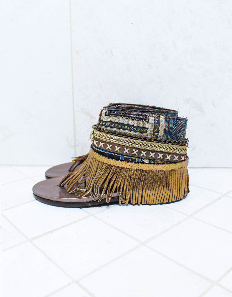 Custom Made Boho Sandals in Brown | SIZE 38 - SWANK - Shoes - 4