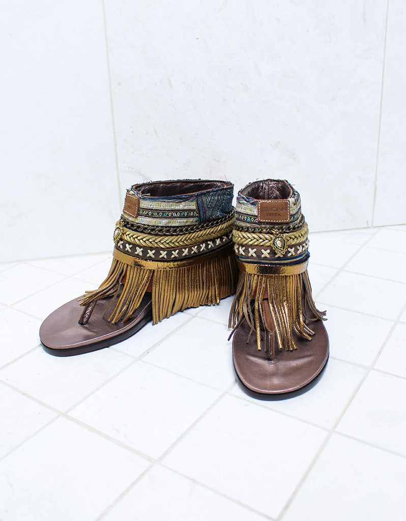 Custom Made Boho Sandals in Brown | SIZE 38 - SWANK - Shoes - 2