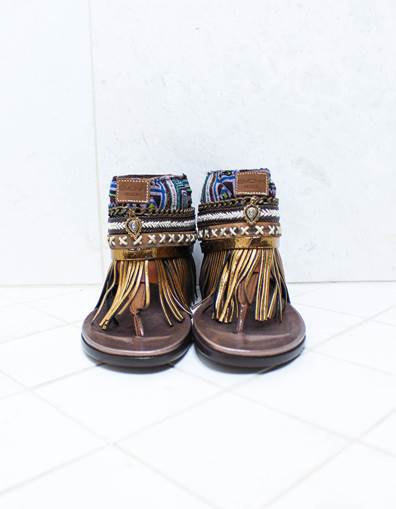 Custom Made Boho Sandals in Brown | SIZE 39 - SWANK - Shoes - 3