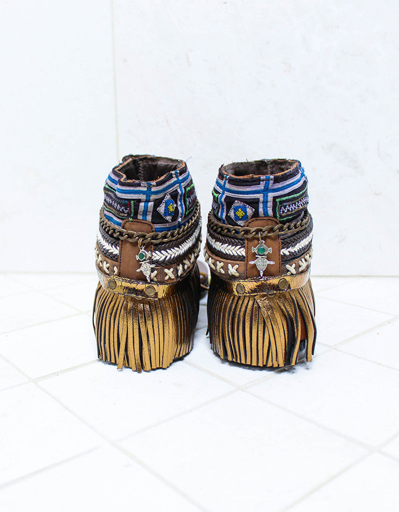 Custom Made Boho Sandals in Brown | SIZE 39 - SWANK - Shoes - 5