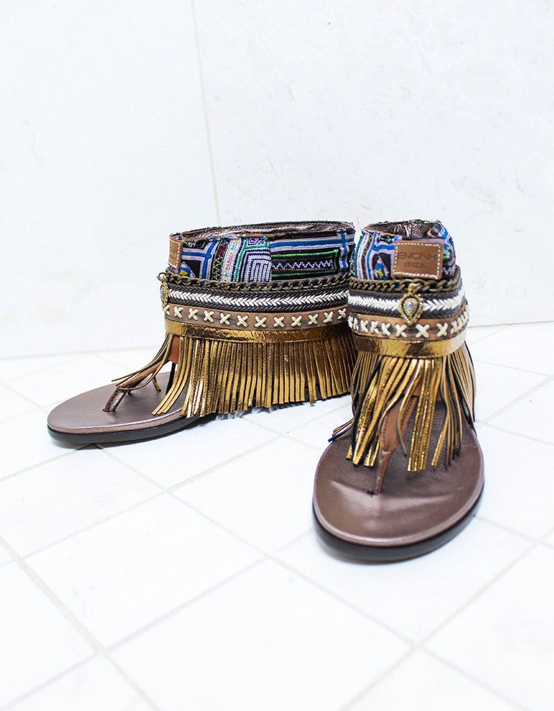 Custom Made Boho Sandals in Brown | SIZE 39 - SWANK - Shoes - 2