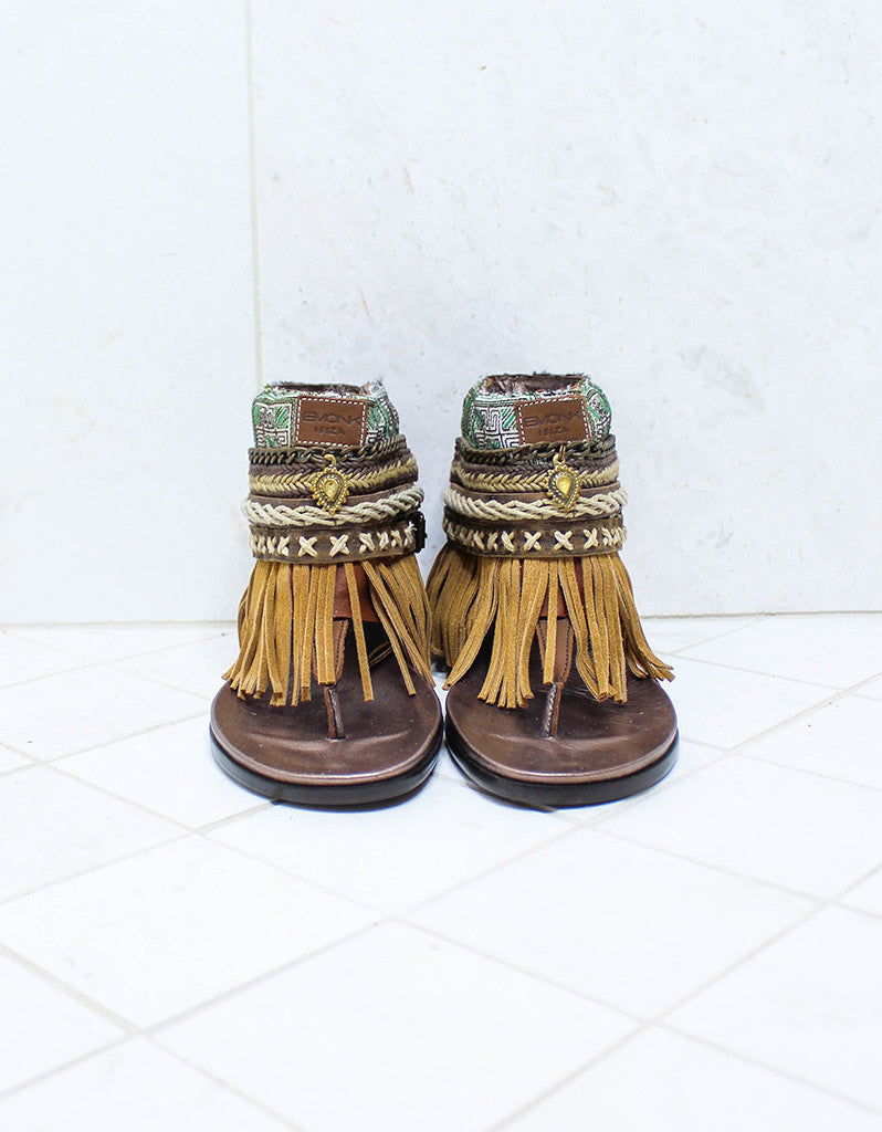Custom Made Boho Sandals in Brown | SIZE 40 - SWANK - Shoes - 3