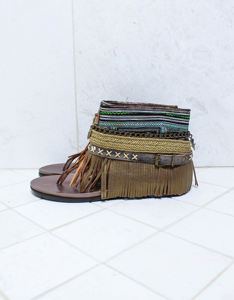 Custom Made Boho Sandals in Brown | SIZE 40 - SWANK - Shoes - 4