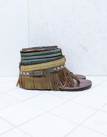 Custom Made Boho High Boot Sandals in Brown | SIZE 40