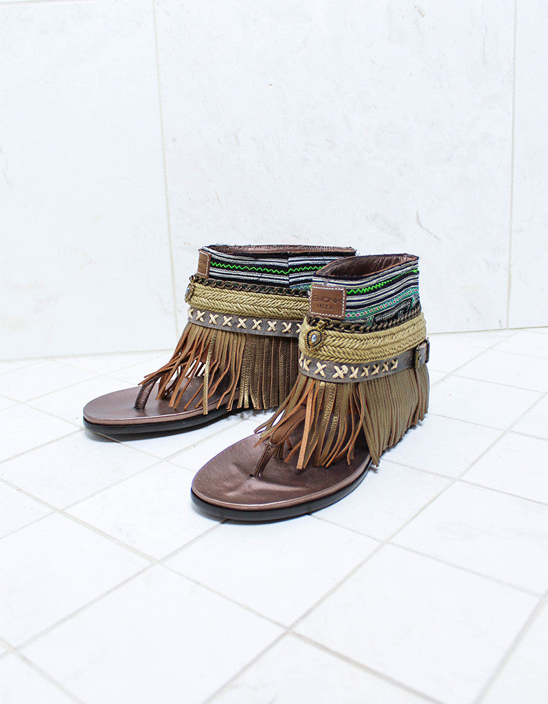 Custom Made Boho Sandals in Brown | SIZE 40 - SWANK - Shoes - 2