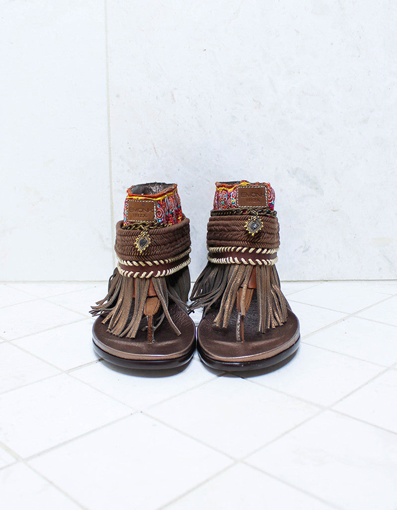Custom Made Boho Sandals in Brown | SIZE 41 - SWANK - Shoes - 3