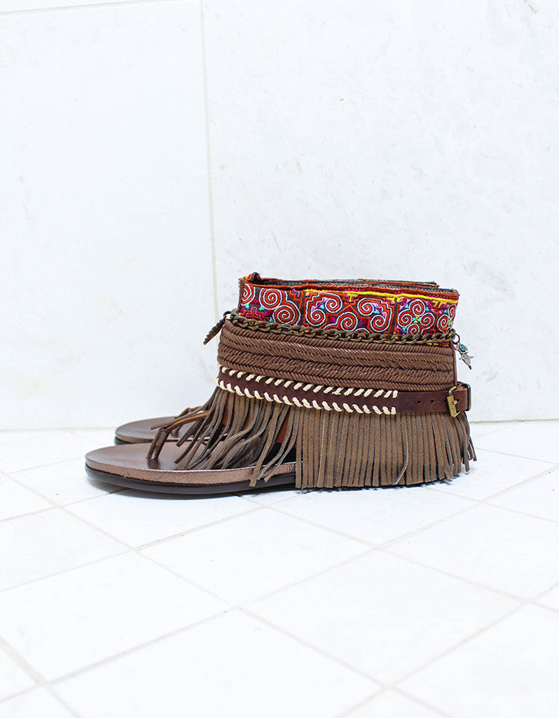 Custom Made Boho Sandals in Brown | SIZE 41 - SWANK - Shoes - 4