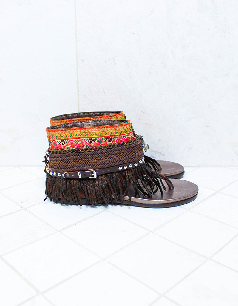 Custom Made Boho Sandals in Brown | SIZE 41 - SWANK - Shoes - 1
