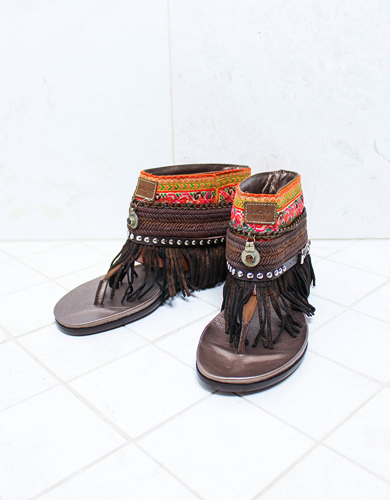 Custom Made Boho Sandals in Brown | SIZE 41 - SWANK - Shoes - 2