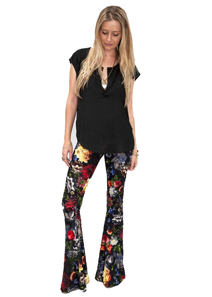 Show Me Your Mumu Bam Bam Bells in Black Floral Waffle - SWANK - Pants - 1