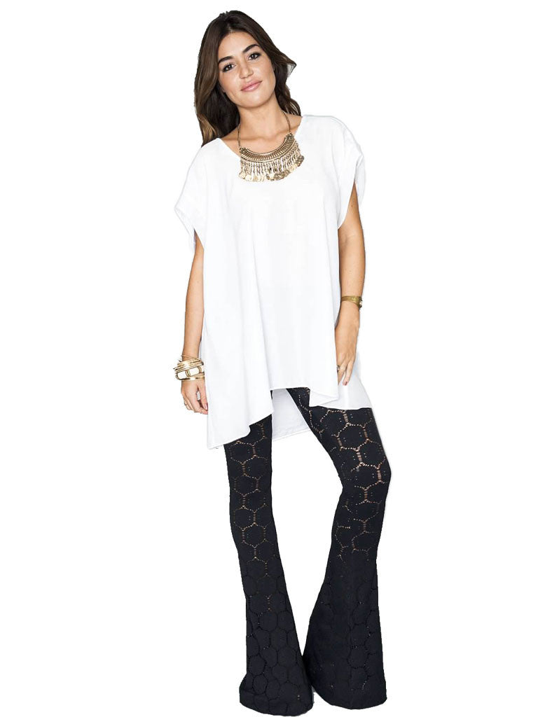 Show Me Your Mumu Bam Bam Bells in Flower Stretch Black - SWANK - Pants