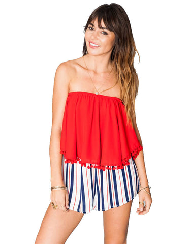 Show Me Your Mumu Banjo Pom Pom Crop Top in Bonfire Crisp