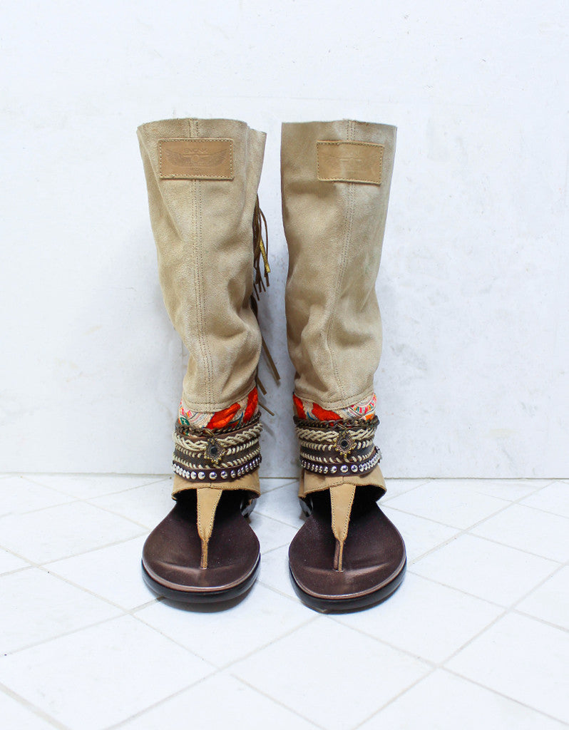 Custom Made Boho High Boot Sandals in Beige | SIZE 39 - SWANK - Shoes - 3