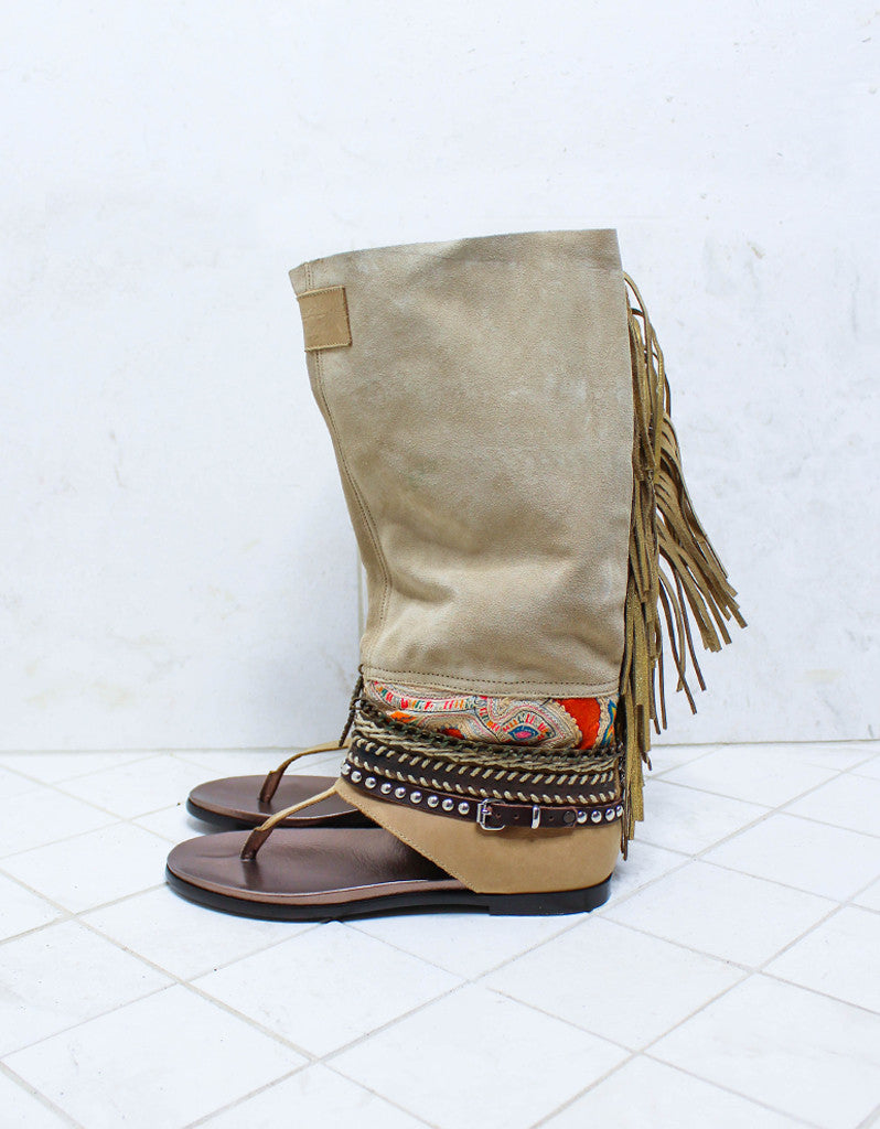 Custom Made Boho High Boot Sandals in Beige | SIZE 39 - SWANK - Shoes - 6