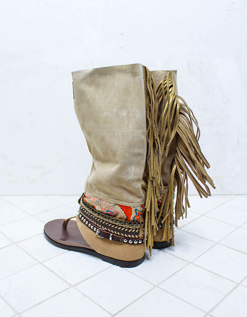 Custom Made Boho High Boot Sandals in Beige | SIZE 39 - SWANK - Shoes - 7