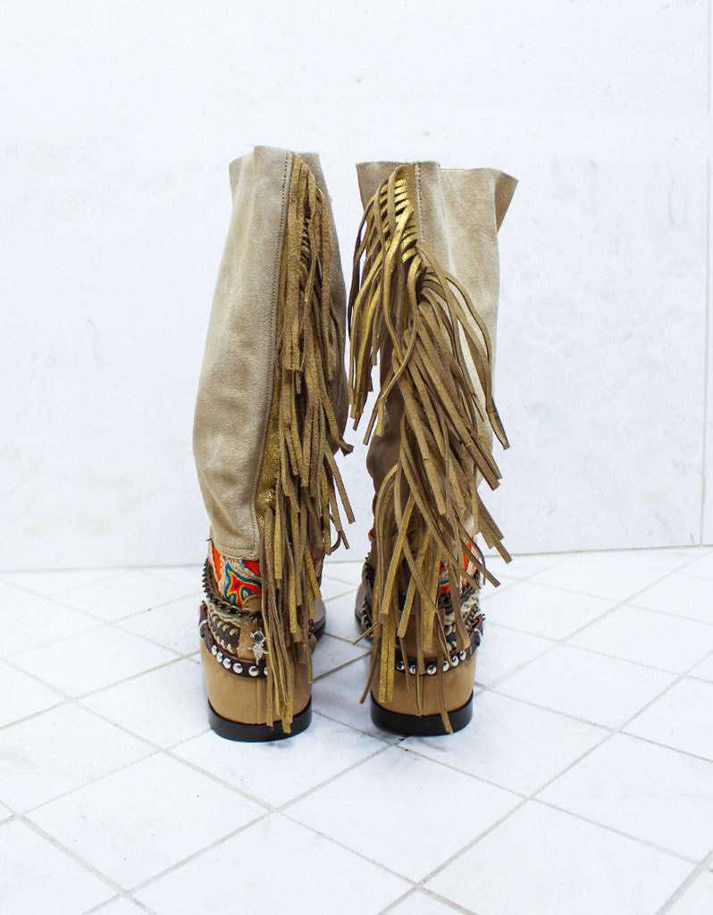 Custom Made Boho High Boot Sandals in Beige | SIZE 39 - SWANK - Shoes - 8