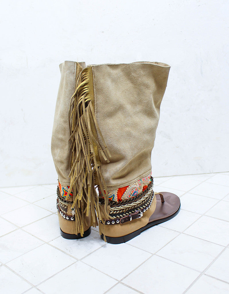 Custom Made Boho High Boot Sandals in Beige | SIZE 39 - SWANK - Shoes - 4
