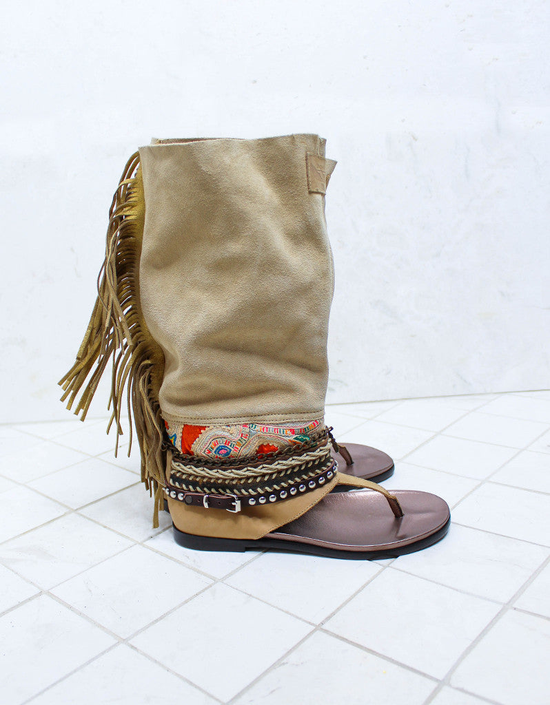 Custom Made Boho High Boot Sandals in Beige | SIZE 39 - SWANK - Shoes - 1