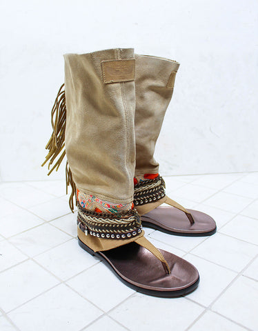 Custom Made Boho High Boot Sandals in Beige | SIZE 39