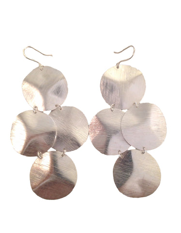Double Bent Leaf Chandelier Earrings in Silver