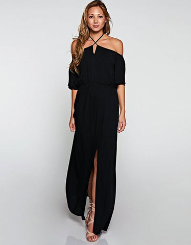 Challis Off the Shoulder Maxi Dress in Black