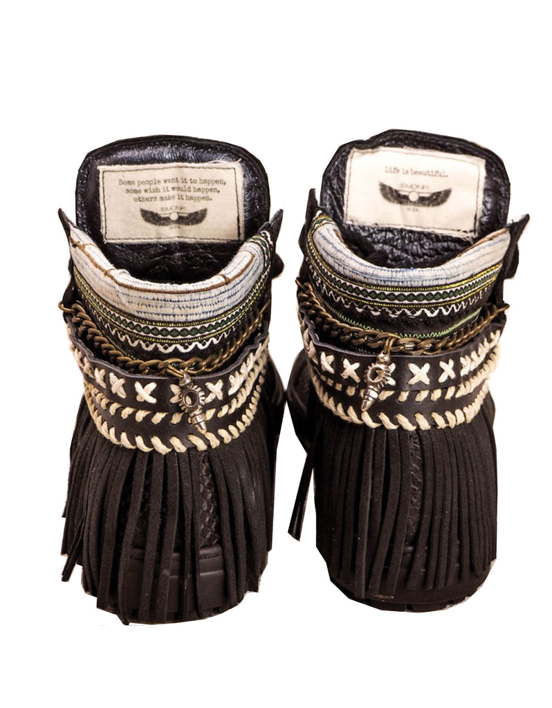 Boho Sneakers with Fringe in Black Snake - SWANK - Shoes - 3