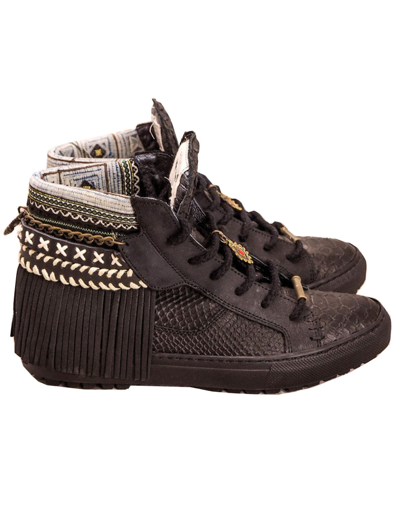 Boho Sneakers with Fringe in Black Snake - SWANK - Shoes - 1
