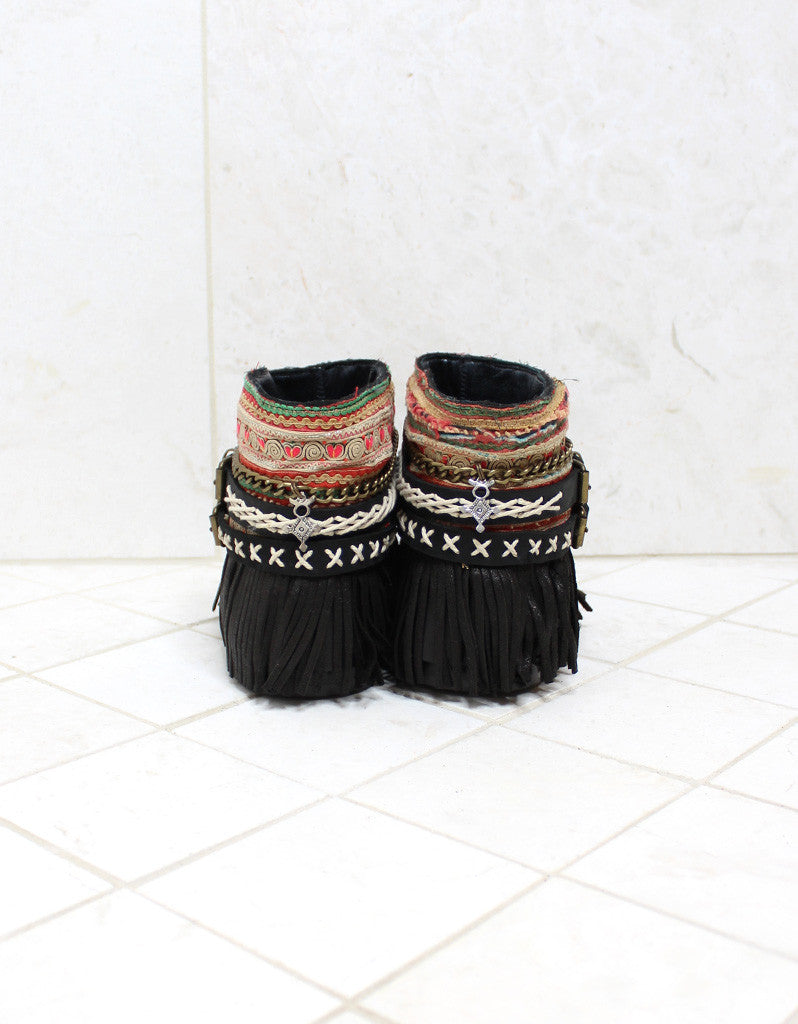 Custom Made Boho Sandals in Black | SIZE 39