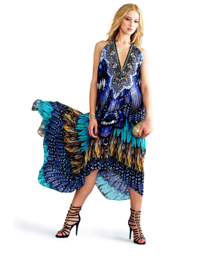Shahida Parides Blue Jay 3-Way Style Dress in Blue - SWANK - Dresses - 1