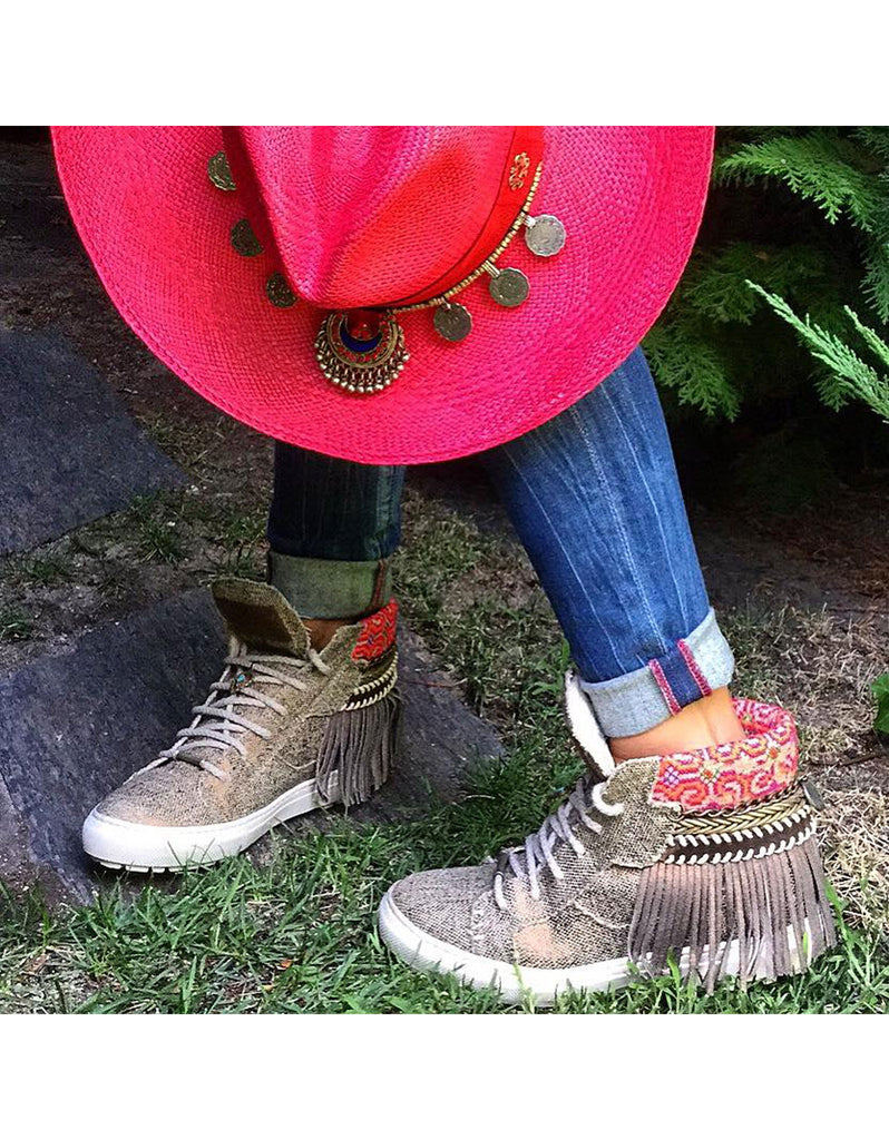 Boho Sneakers with Fringe - Bronze - SWANK - Shoes - 1