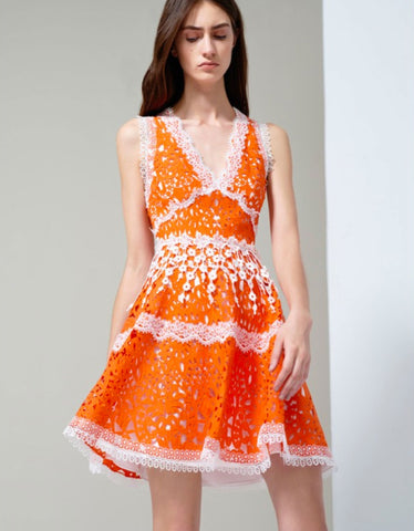 Alexis Bridget Lace Dress in Tangerine