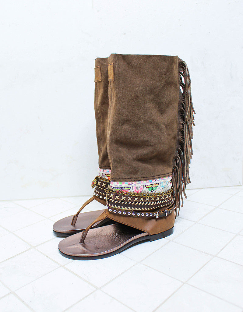 Custom Made Boho High Boot Sandals in Brown | SIZE 38 - SWANK - Shoes - 3