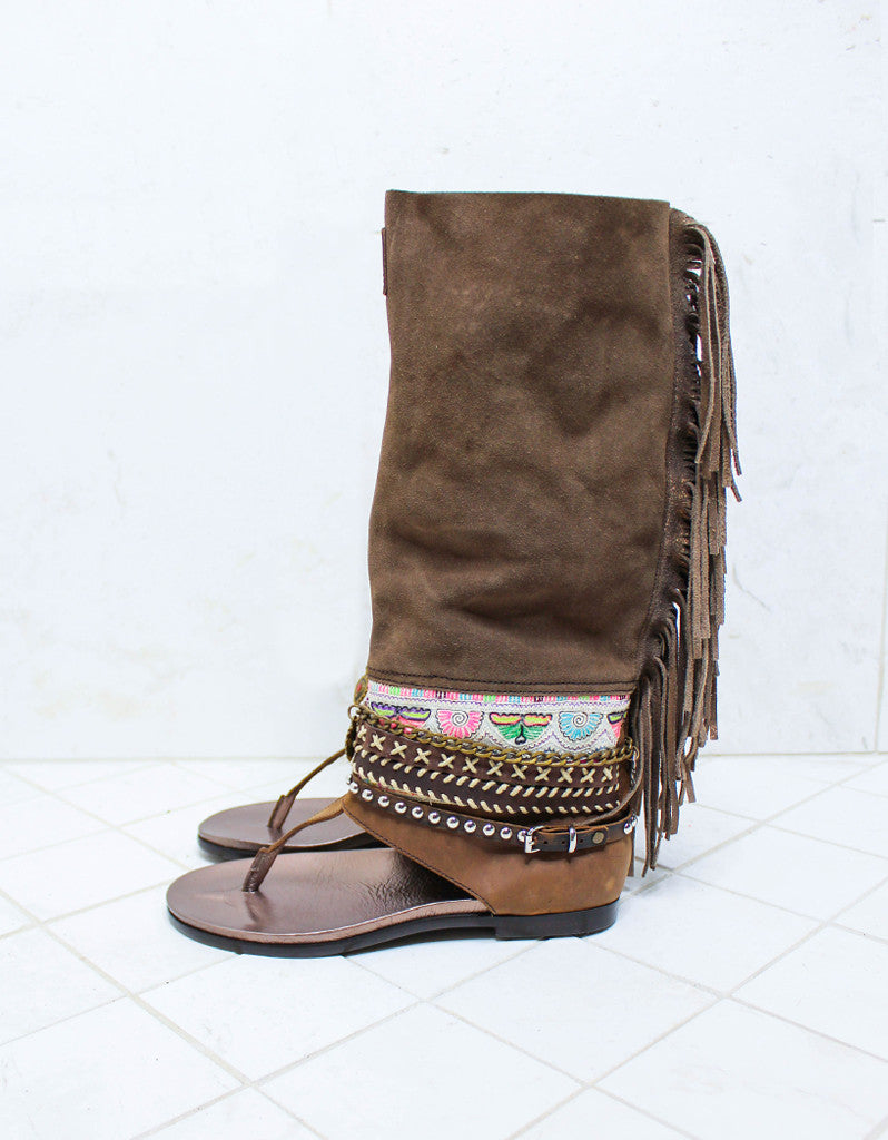 Custom Made Boho High Boot Sandals in Brown | SIZE 38 - SWANK - Shoes - 5