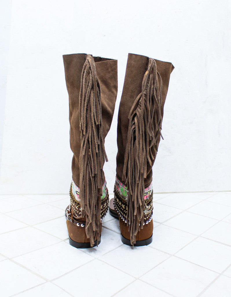 Custom Made Boho High Boot Sandals in Brown | SIZE 38 - SWANK - Shoes - 6