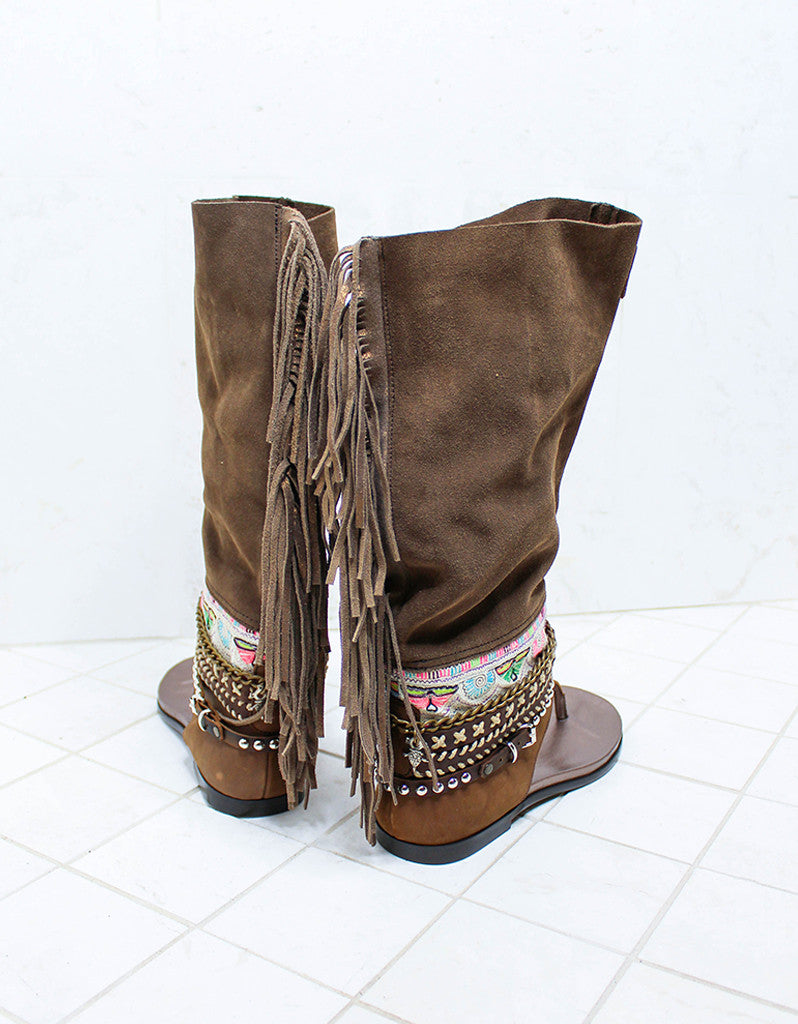 Custom Made Boho High Boot Sandals in Brown | SIZE 38 - SWANK - Shoes - 7