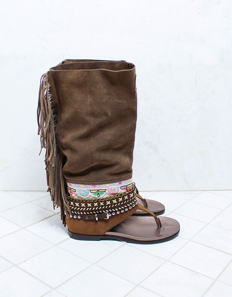 Custom Made Boho High Boot Sandals in Brown | SIZE 38 - SWANK - Shoes - 1