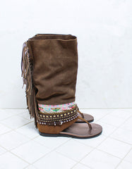 Custom Made Boho High Boot Sandals in Brown | SIZE 38