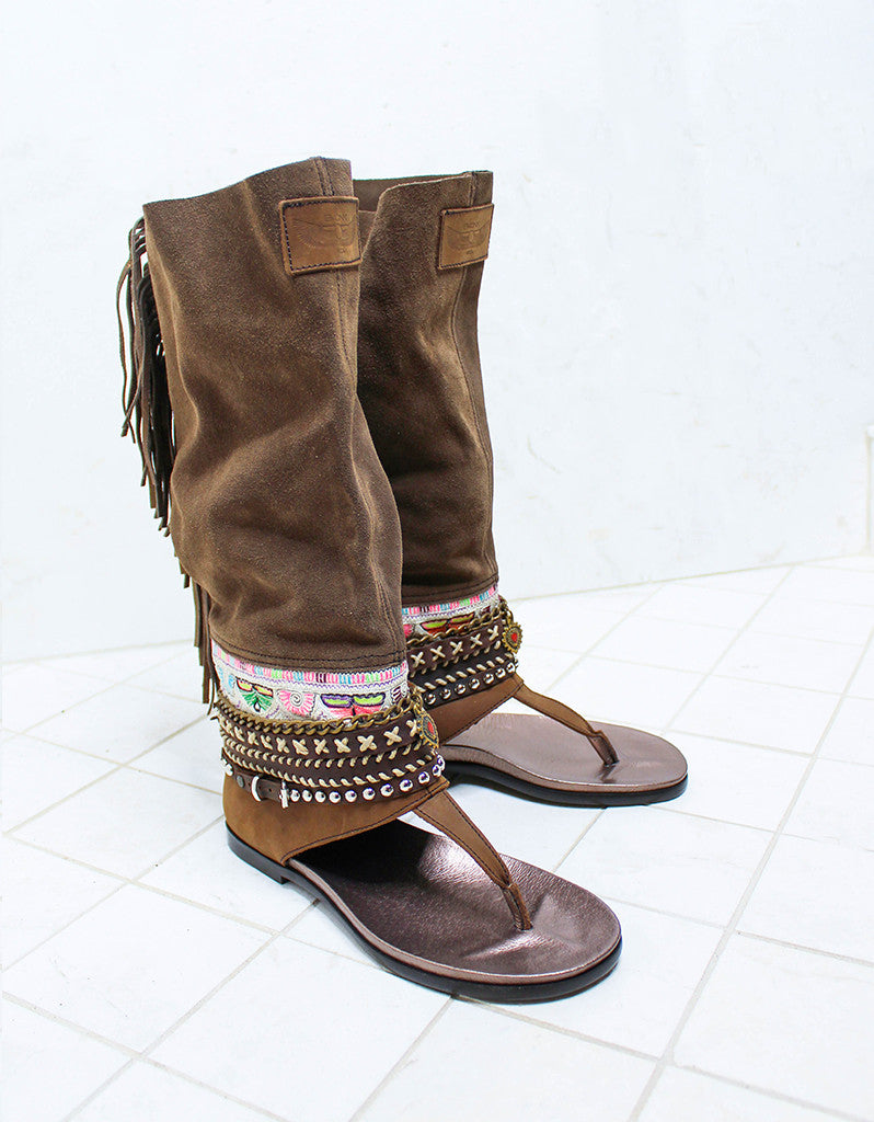 Custom Made Boho High Boot Sandals in Brown | SIZE 38 - SWANK - Shoes - 2