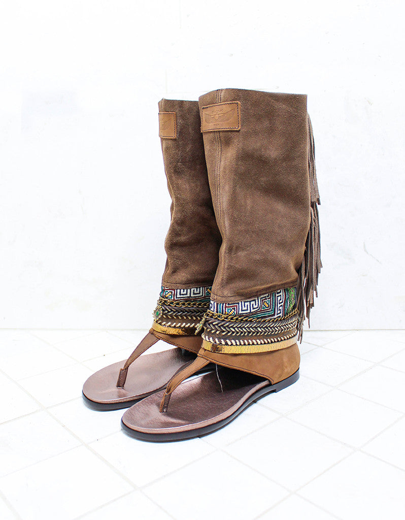 Custom Made Boho High Boot Sandals in Brown | SIZE 40 - SWANK - Shoes - 2