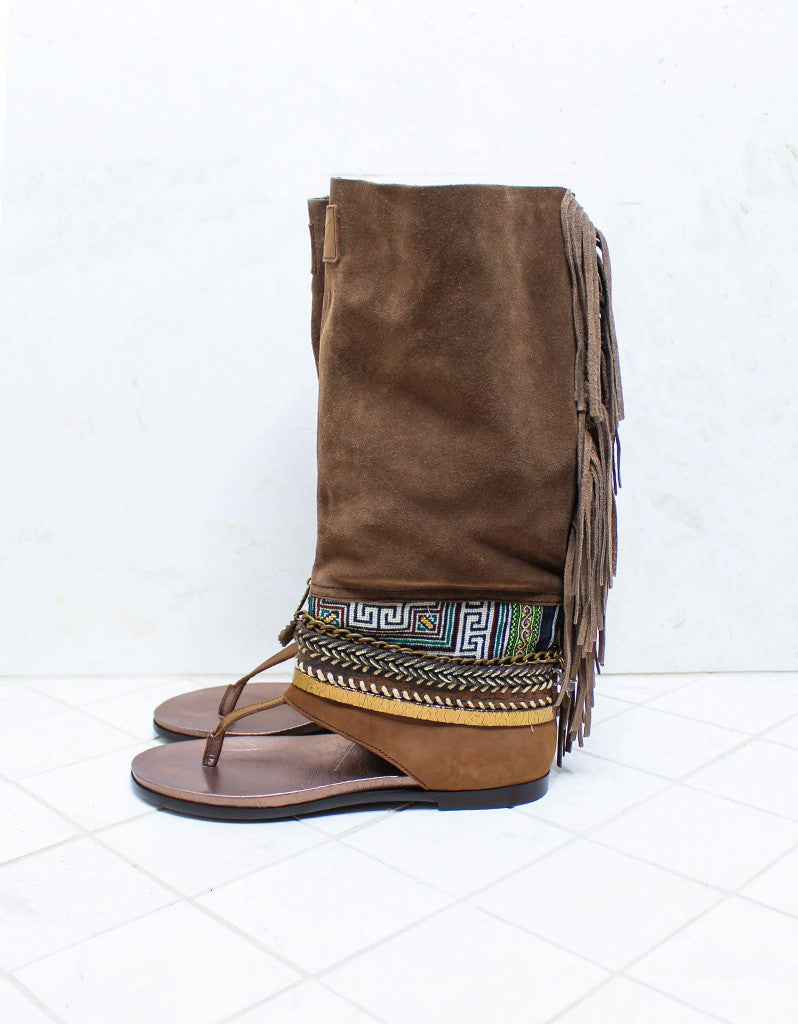Custom Made Boho High Boot Sandals in Brown | SIZE 40 - SWANK - Shoes - 6