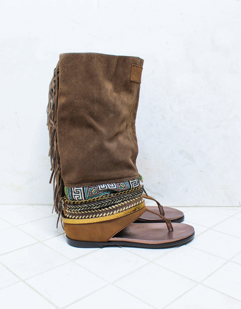 Custom Made Boho High Boot Sandals in Brown | SIZE 40 - SWANK - Shoes - 1