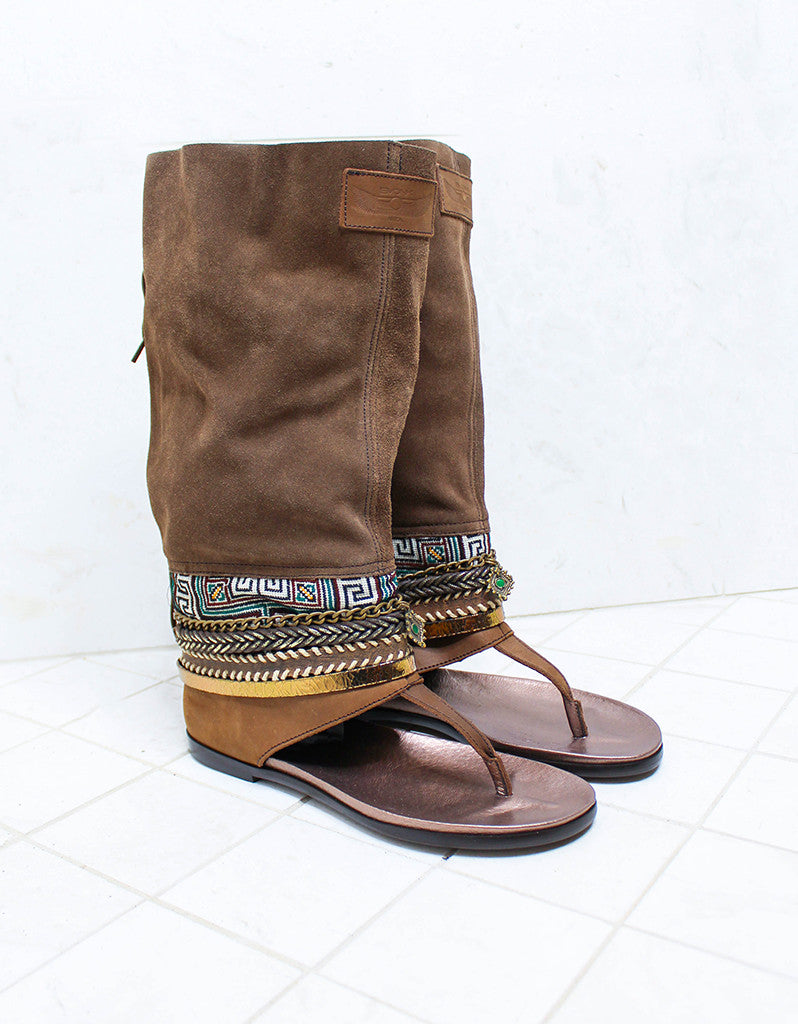 Custom Made Boho High Boot Sandals in Brown | SIZE 40 - SWANK - Shoes - 3