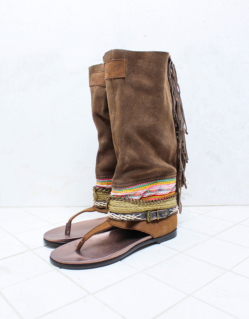 Custom Made Boho High Boot Sandals in Brown | SIZE 41 - SWANK - Shoes - 2