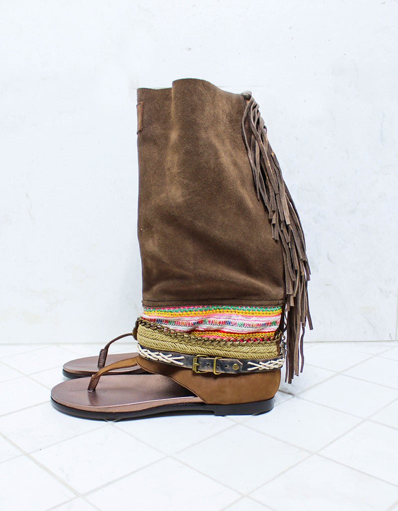 Custom Made Boho High Boot Sandals in Brown | SIZE 41 - SWANK - Shoes - 5