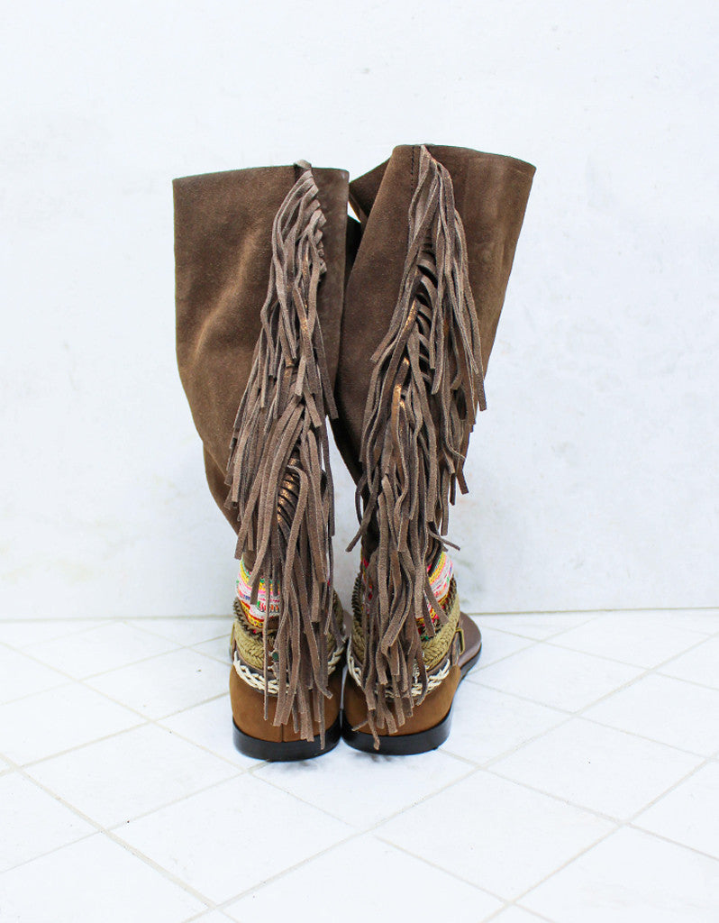Custom Made Boho High Boot Sandals in Brown | SIZE 41