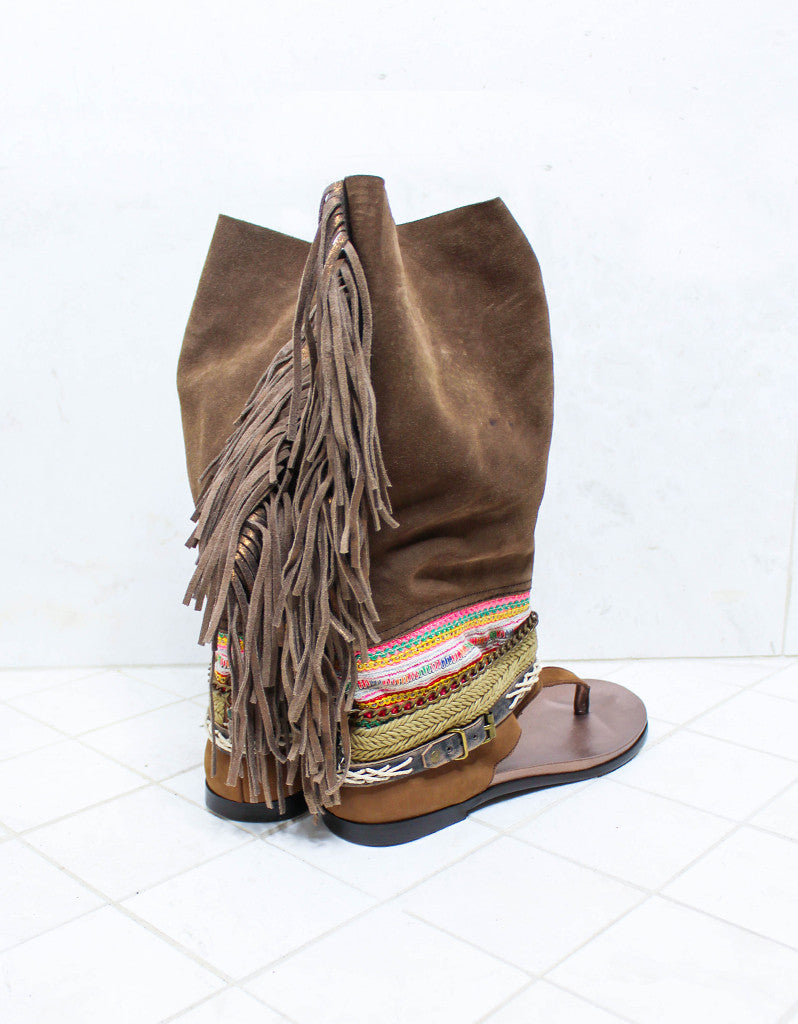 Custom Made Boho High Boot Sandals in Brown | SIZE 41 - SWANK - Shoes - 3