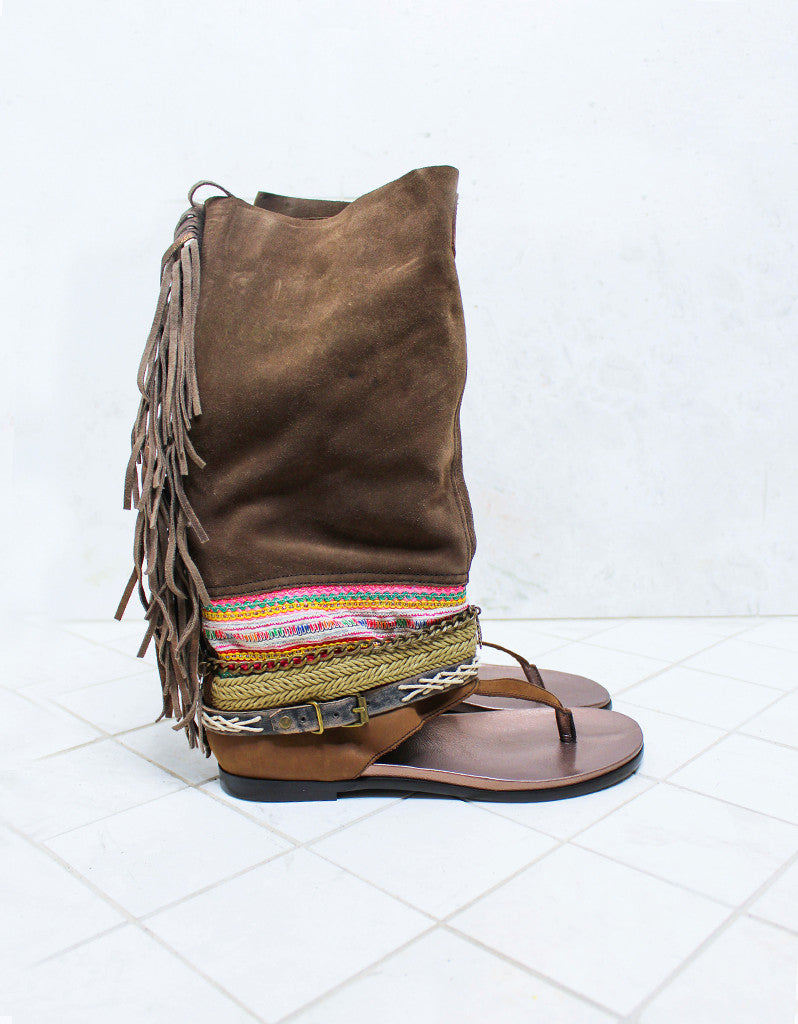 Custom Made Boho High Boot Sandals in Brown | SIZE 41 - SWANK - Shoes - 1